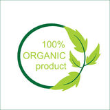 Vector 100 % orgranic product logo and symbol. Royalty Free Stock Image
