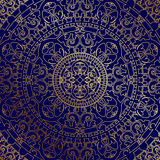 Oriental blue background with gold ornament Royalty Free Stock Photo