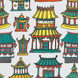 Vector oriental houses seamless pattern. Vector asian houses seamless pattern. Hand drawn colorful Far East architecture Stock Images