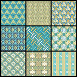 Vector Oriental Patterns. Set of nine vector illustrations of oriental seamless patterns Stock Image