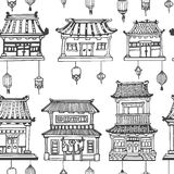 Vector oriental seamless pattern with asian architecture. Vector black and white oriental seamless pattern with asian architecture and lanterns Stock Photos