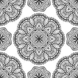 Vector, oriental, seamless pattern with black mandalas. Stock Photo