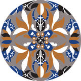 Vector oriental traditional lotus flower circle pattern Royalty Free Stock Images