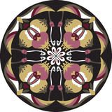 Vector oriental traditional lotus flower goldfish circle pattern Royalty Free Stock Image