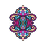 Vector orientalische Verzierung, ethnische zentangled Hennastrauchtätowierung, kopierter Inder Paisley Mehrfarbige Hand gezeichne Lizenzfreie Stockfotos