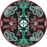 Vector orientalisches traditionelles Lotosblumen-Goldfischrundschreibenmuster Lizenzfreies Stockbild