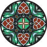 Vector orientalisches traditionelles Lotosblumen-Goldfischrundschreibenmuster Stockbild