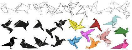 Vector, origami. Bird, crane multicolored Vector Illustration