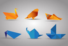 Vector origami Birds and boat Stock Image