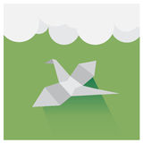 Vector origami birds flying sky, a beautiful green and wh royalty free illustration