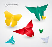 Vector Origami Butterflies. EPS10. Traditional Japanese art of paper folding Royalty Free Stock Images