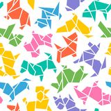 Vector Origami Dog Seamless Background Stock Photo
