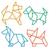 Origami Dogs Icon Set 3 Royalty Free Stock Photography