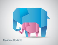 Vector origami elephant mother and son Royalty Free Stock Photo