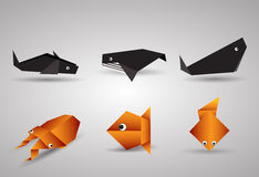 Vector origami Fishes Royalty Free Stock Images