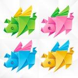 Vector Origami Flying Pig Set stock illustration