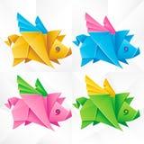 Vector Origami Flying Pig Set vector illustration