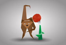 Vector origami gibbon and flower Royalty Free Stock Photography
