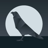 Vector origami raven Stock Images