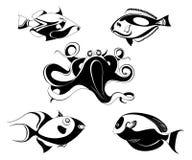 Vector original decorative octopus and fish illustration Stock Photos