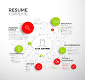 Vector original minimalist cv / resume template. Creative profile red and green version stock illustration