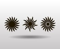 Vector ornament, abstract sun, flower. Tattoo. Royalty Free Stock Photo