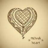 Vector ornament in indian style. Mehndi ornamental heart Royalty Free Stock Photography