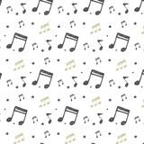 Vector Ornament with musical notes in Doodle style. Pattern with hand-drawn musical elements vector illustration