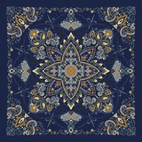 Paisley Bandana print. Vector ornament paisley Bandana Print, silk neck scarf or kerchief square pattern design style for print on fabric vector illustration