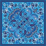 Vector ornament paisley bandana print, silk neck scarf or kerchief square pattern design style for print on fabric. Bandana paisley style. Blue stock illustration