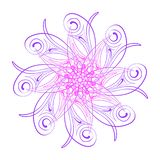 Vector ornament. Round floral pattern. Hand drawn decorative element royalty free illustration