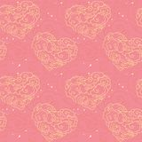 Vector seamless pattern. Heart shaped clouds on pink background. Vector ornament for Saint Valentine`s Day. Template for wrapping paper Royalty Free Stock Images