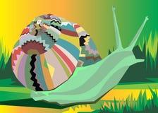 Vector ornament snail creeping grass cartoon Royalty Free Stock Images