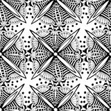 Vector ornamental background with doodle graphic flowers. Black and white ethnic seamless pattern for fabric,  wrapping Stock Photography