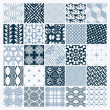 Vector ornamental black and white seamless backdrops set, geomet Stock Images