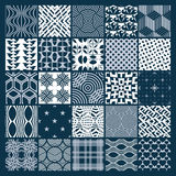 Vector ornamental black and white seamless backdrops set, geomet Stock Image