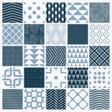 Vector ornamental black and white seamless backdrops set, geomet Royalty Free Stock Images