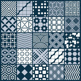Vector ornamental black and white seamless backdrops set. Geometric patterns collection. Ornate textures made in modern simple style Stock Image