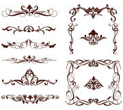 Vector ornamental borders. Beautiful set of vector ornaments for decorating books, websites, postcards, business cards. Patterned frame and corners on a white Stock Photos