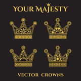 Vector Ornamental Crowns Royalty Free Stock Photo