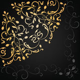 Vector ornamental floral element. Vintage style. Gold corner ornamental floral element on the black background. Vintage style Royalty Free Stock Photo
