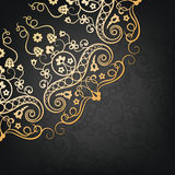 Vector ornamental floral element. Vintage style. Golden  vector ornamental floral element on the black background. Vintage style Stock Photos