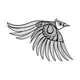 Vector ornamental flying bird, ethnic zentangled mascot, amulet Royalty Free Stock Photos