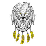 Vector ornamental Lion with dreamcatcher, ethnic patterned head. Stock Photo