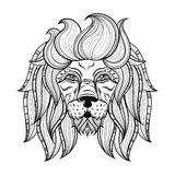 Vector ornamental Lion, ethnic patterned head. Hand drawn bohemi Stock Photography