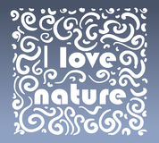 Vector ornamental logo I love nature on blue background. Stock Photos