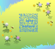 Vector ornamental logo I love nature on the grass background. World environments day. Royalty Free Stock Photo