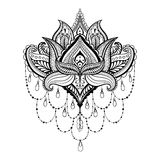 Vector ornamental Lotus, ethnic zentangled henna tattoo, pattern Royalty Free Stock Images