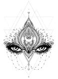 Vector ornamental Lotus flower, all-seeing eye, patterned Indian Stock Photo