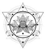 Vector ornamental Lotus flower, ethnic art, patterned Indian paisley. Hand drawn illustration. Invitation element. royalty free illustration